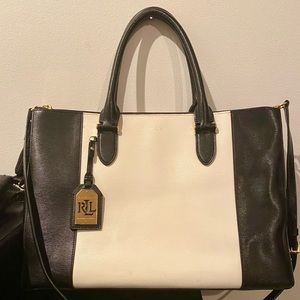 Ralph Lauren Newbury Black/White Shoulder Bag